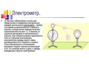 Электрометр. В обычных лабораторных опытах для обнаружения и измерения электр