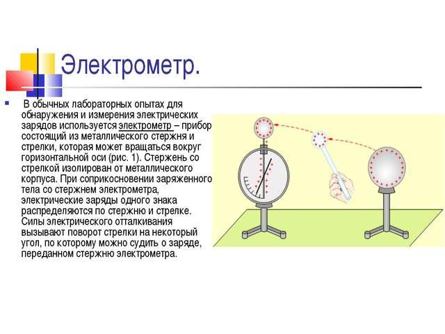Электрометр. В обычных лабораторных опытах для обнаружения и измерения электр...