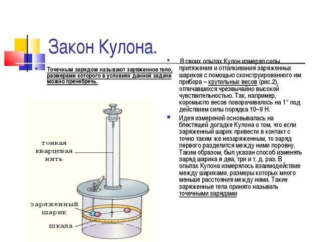 Закон Кулона. Точечным зарядом называют заряженное тело, размерами которого...