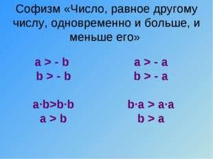 Софизм «Число, равное другому числу, одновременно и больше, и меньше его» a >