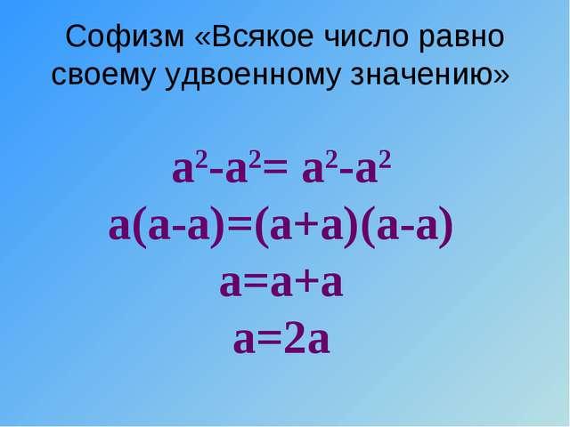 Софизм «Всякое число равно своему удвоенному значению» а2-а2= а2-а2 а(а-а)=(а...