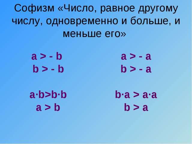 Софизм «Число, равное другому числу, одновременно и больше, и меньше его» a >...