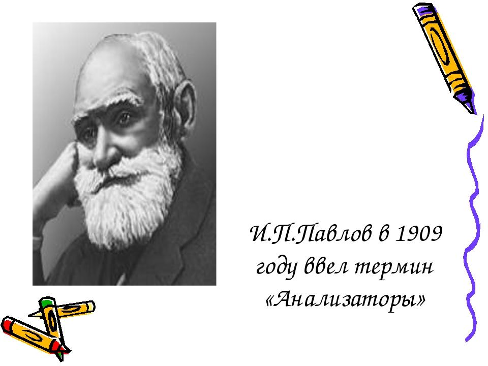 И.П.Павлов в 1909 году ввел термин «Анализаторы»