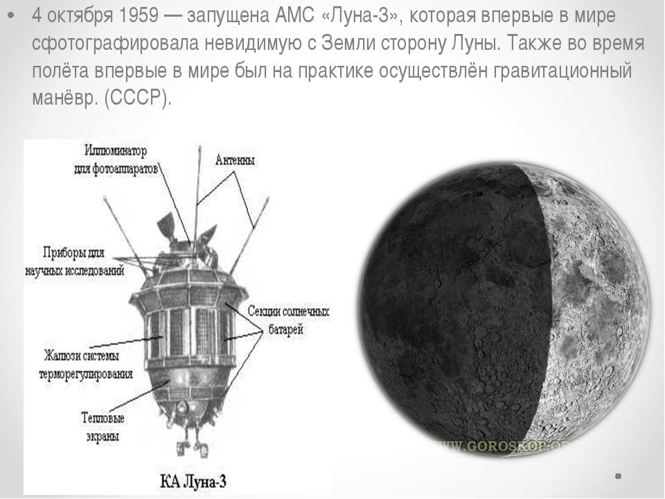 4 октября 1959— запущена АМС «Луна-3», которая впервые в мире сфотографирова...