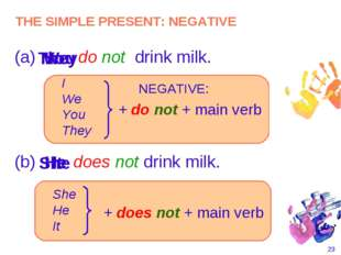 * (a) do not drink milk. I You They NEGATIVE: I We You They + do not + main v