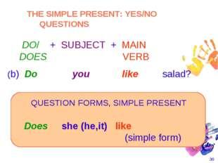 * Does she (he,it) like  (simple form) (b) Do you like salad? ( ( QUEST