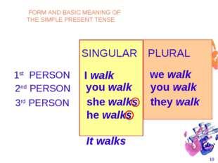 * SINGULAR PLURAL 1st PERSON I walk we walk 2nd PERSON you walk you walk she