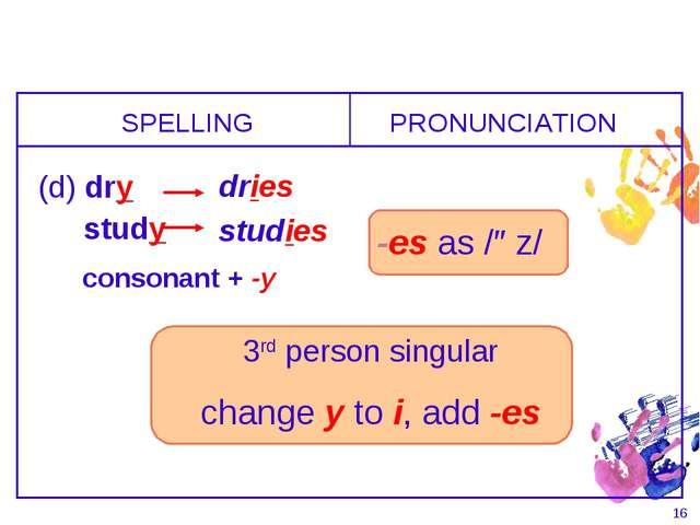 * 3rd person singular change y to i, add -es SPELLING (d) dry PRONUNCIATION d...