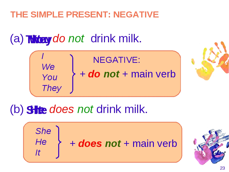 * (a) do not drink milk. I You They NEGATIVE: I We You They + do not + main v...