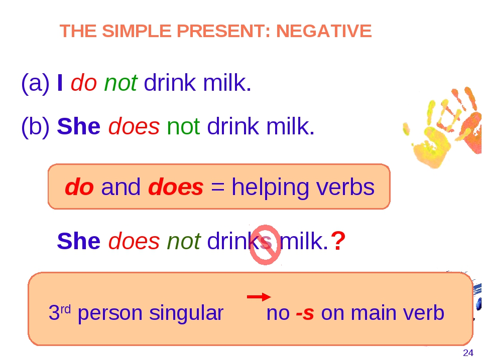 * She does not drinks milk. 3rd person singular no -s on main verb THE SIMPLE...