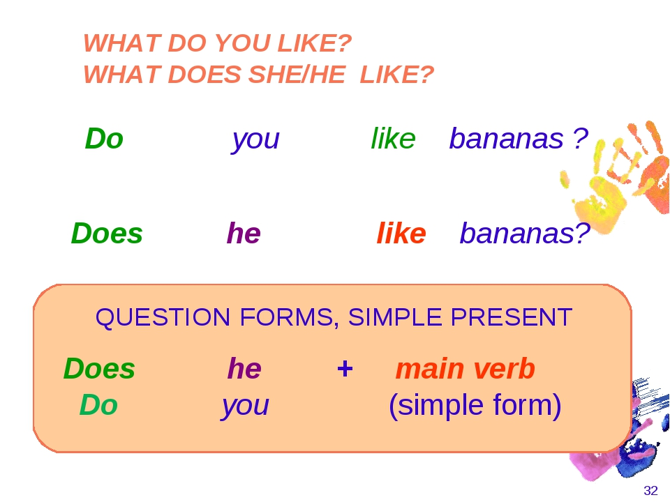 * Does he + main verb Do you (simple form) Does he like bananas? QUESTI...