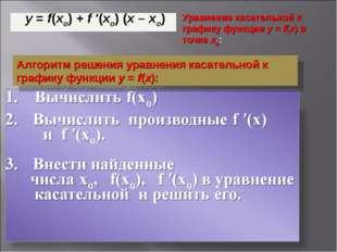 Алгоритм решения уравнения касательной к графику функцииy=f(x): Уравнение