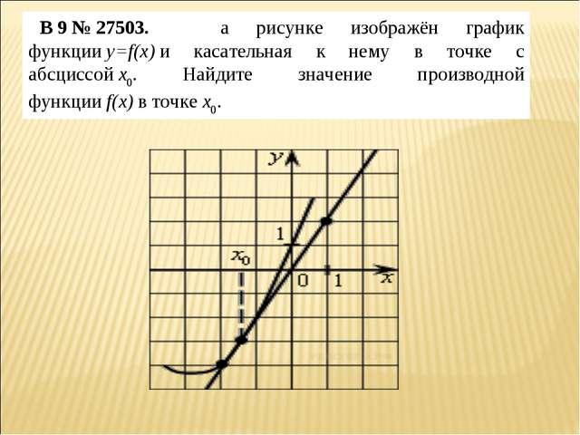 B9№27503. на рисунке изображён график функцииy=f(x)и касательная к нему...