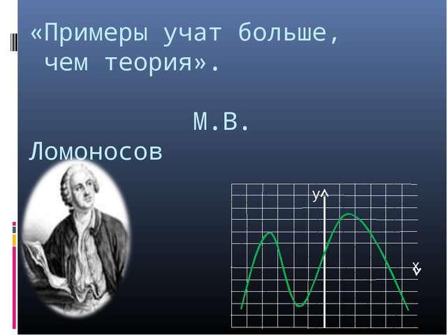 «Примеры учат больше, чем теория». М.В. Ломоносов