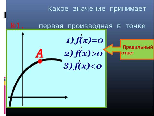 Какое значение принимает №1. первая производная в точке А? Правильный ответ