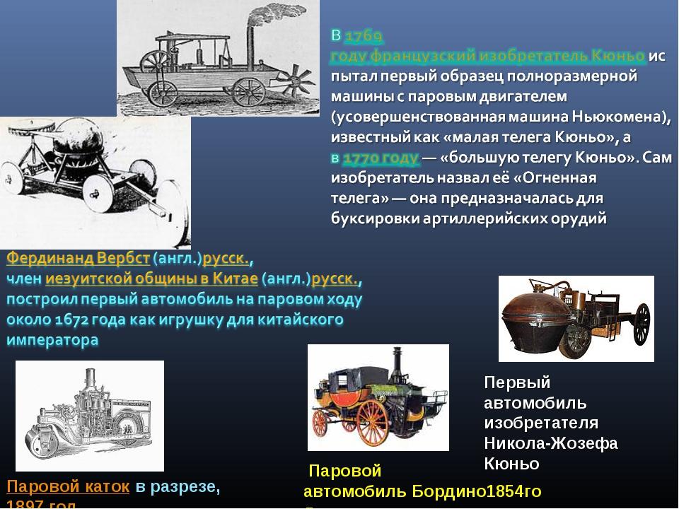 Первый автомобиль изобретателя Никола-Жозефа Кюньо Паровой катокв разрезе,...
