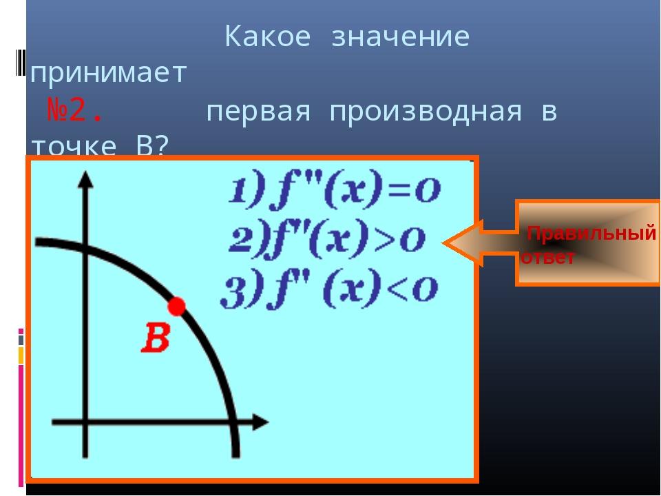 Какое значение принимает №2. первая производная в точке В? Правильный ответ