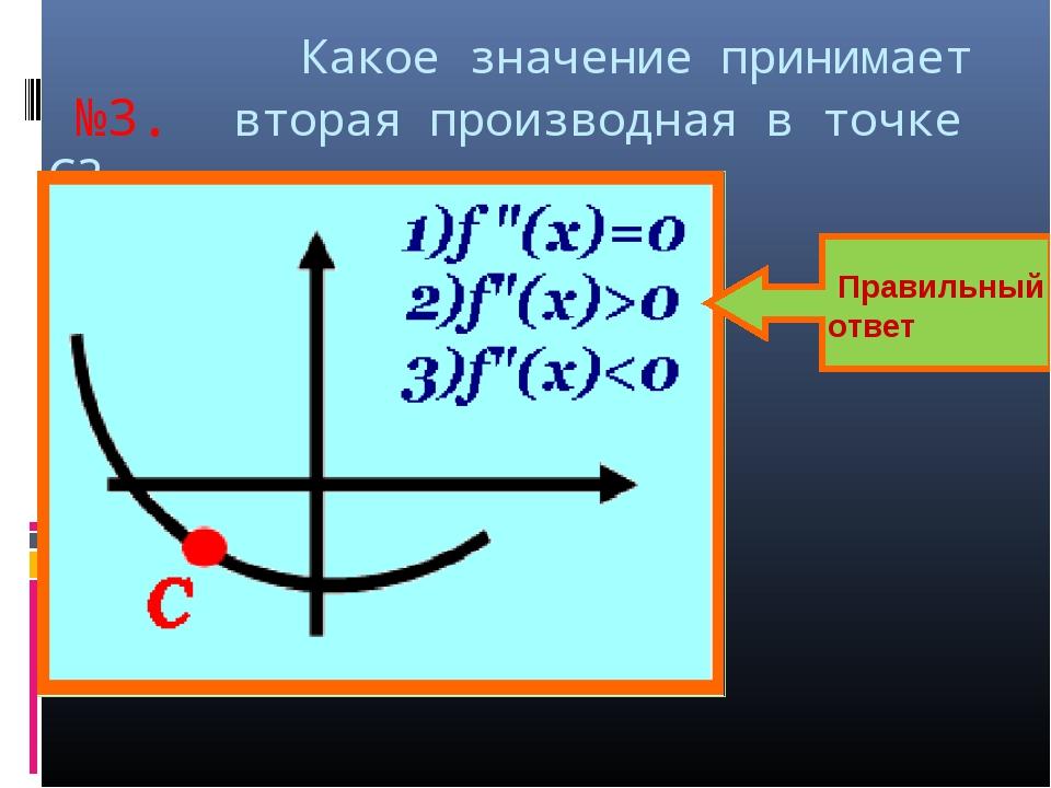 Какое значение принимает №3. вторая производная в точке С? Правильный ответ