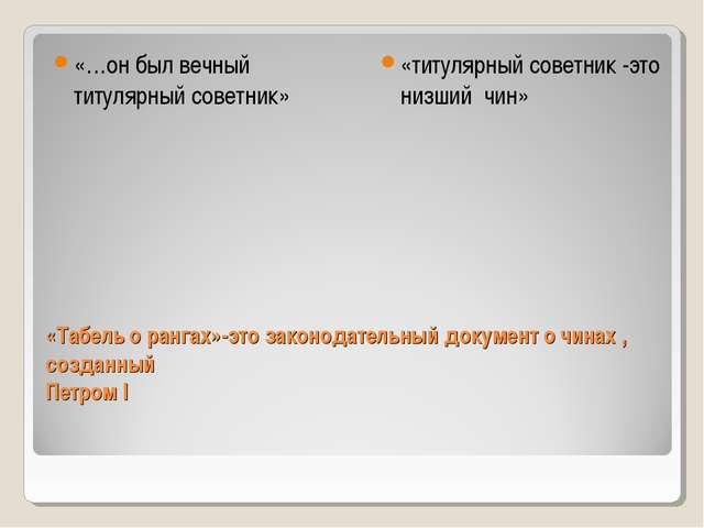 «Табель о рангах»-это законодательный документ о чинах , созданный Петром I «...