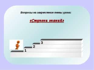 Вопросы на закрепление темы урока: «Ступени знаний» 1 2 3