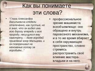 """Как вы понимаете эти слова? """"Глаза Александра Васильевича глядели отвлечённо,"""