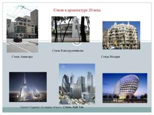 Стили в архитектуре 20 века Стиль Авангард Стиль Конструктивизма Стиль Модерн