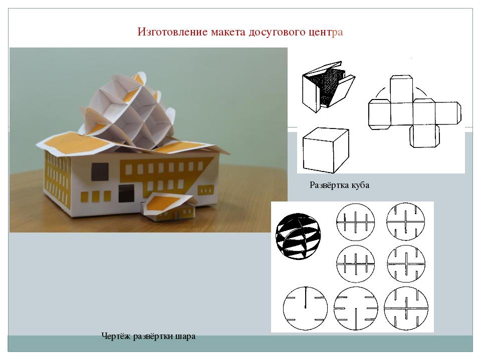 Изготовление макета досугового центра Развёртка куба Чертёж развёртки шара