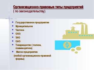 Организационно-правовые типы предприятий ( по законодательству) Государственн