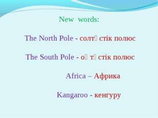 New words: The North Pole - солтүстік полюс The South Pole - оңтүстік полюс
