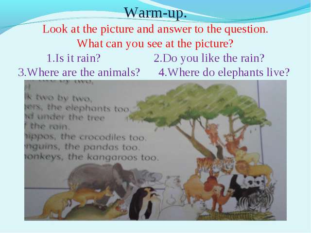 Warm-up. Look at the picture and answer to the question. What can you see at...
