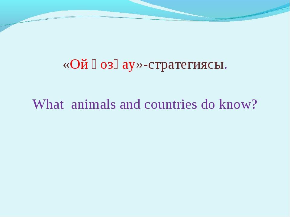 «Ой қозғау»-стратегиясы. What animals and countries do know?