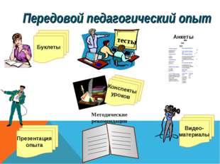 Передовой педагогический опыт Буклеты Видео- материалы Конспекты уроков Презе