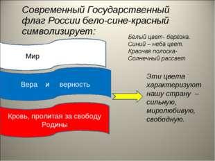 Современный Государственный флаг России бело-сине-красный символизирует: мир