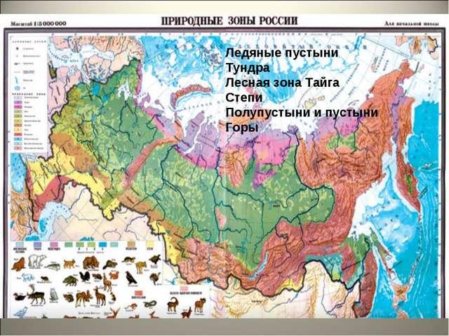 Ледяные пустыни Тундра Лесная зона Тайга Степи Полупустыни и пустыни Горы