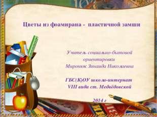 Учитель социально-бытовой ориентировки Миронюк Зинаида Николаевна ГБС(К)ОУ шк