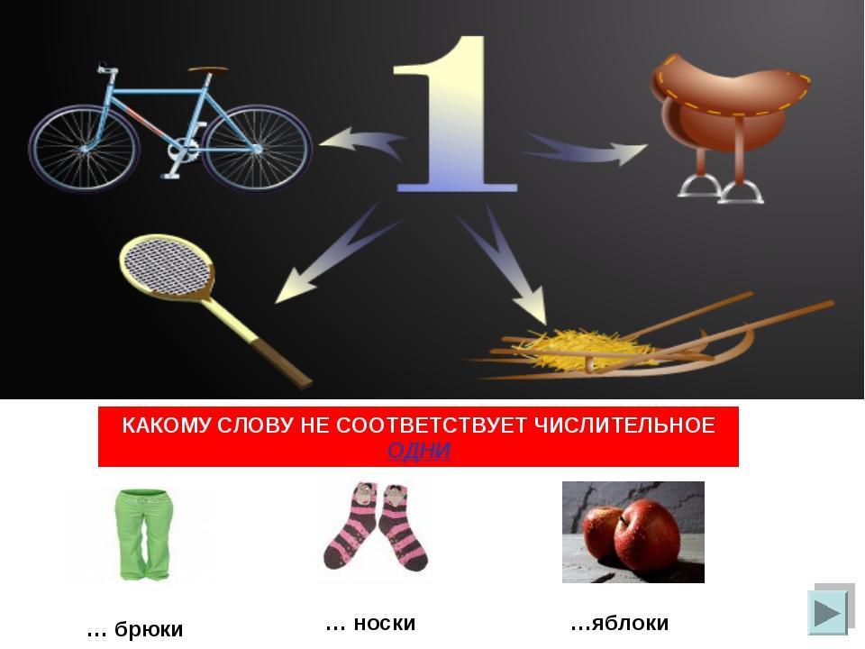 КАКОМУ СЛОВУ НЕ СООТВЕТСТВУЕТ ЧИСЛИТЕЛЬНОЕ ОДНИ … брюки … носки …яблоки