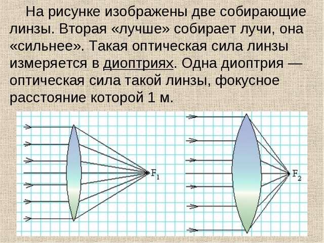 На рисунке изображены две собирающие линзы. Вторая «лучше» собирает лучи, она...