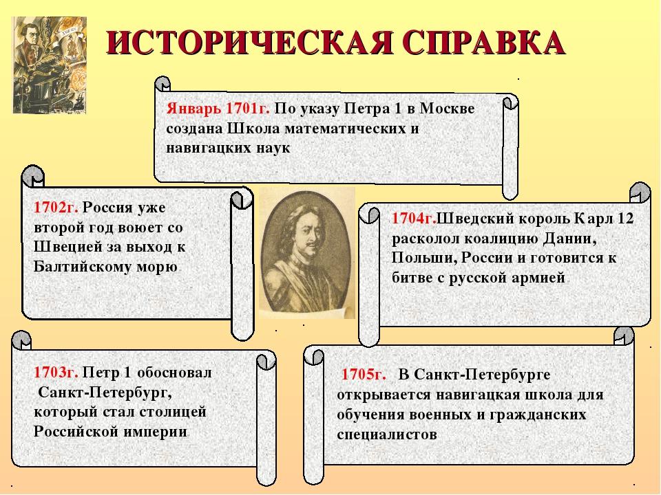 Январь 1701г. По указу Петра 1 в Москве создана Школа математических и навига...
