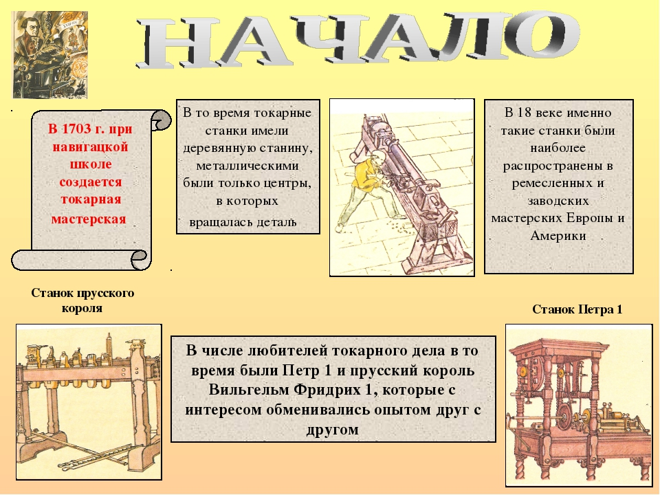 В 1703 г. при навигацкой школе создается токарная мастерская В то время токар...