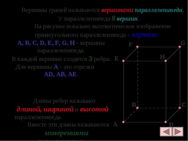 Вершины граней называются вершинами параллелепипеда. У параллелепипеда 8 вер...