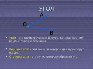 УГОЛ Угол - это геометрическая фигура, которая состоит из двух лучей и вершин