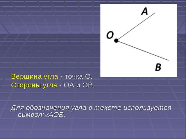 Вершина угла - точка O. Стороны угла - OA и OB. Для обозначения угла в текс...