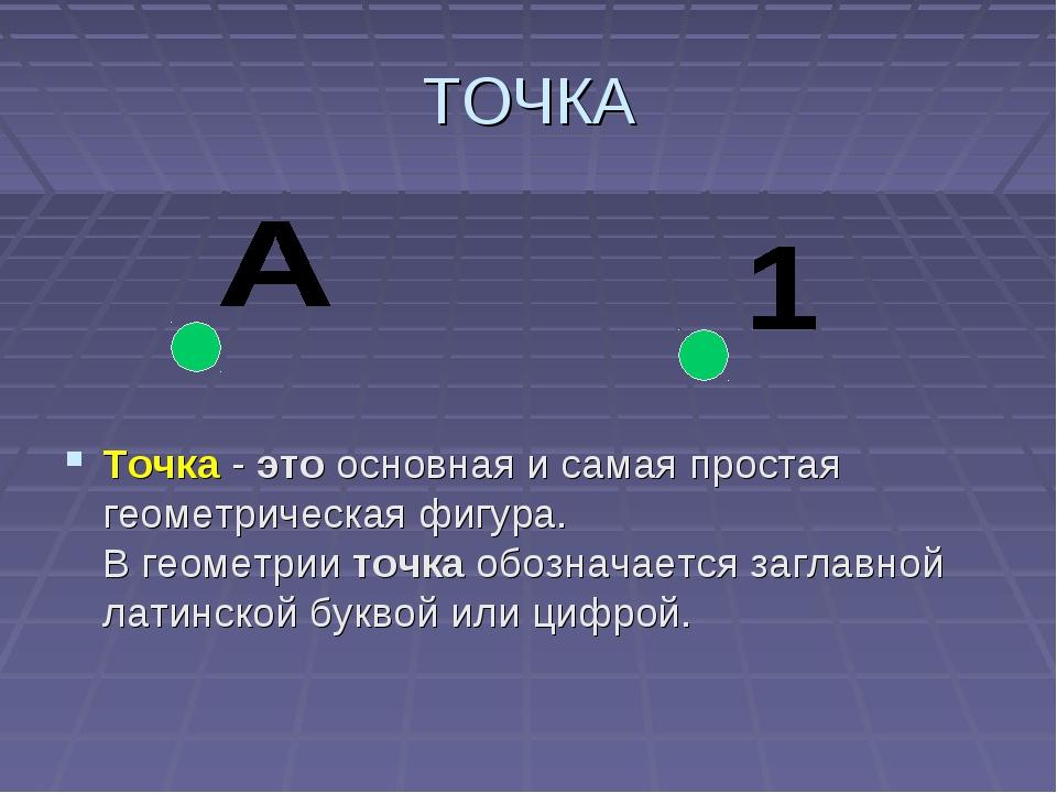 ТОЧКА Точка-этоосновная и самая простая геометрическая фигура. Вгеометрии...