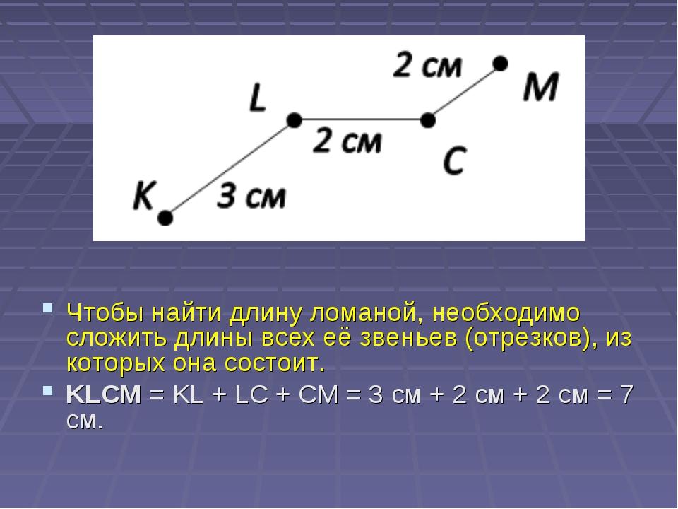 Чтобы найти длину ломаной, необходимо сложить длины всех её звеньев (отрезко...