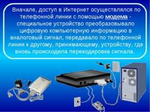Вначале, доступ в Интернет осуществлялся по телефонной линии с помощью модем