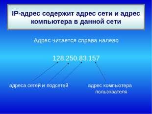 IP-адрес содержит адрес сети и адрес компьютера в данной сети Адрес читается
