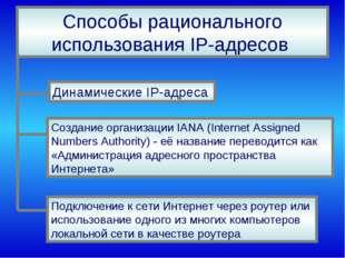 Способы рационального использования IP-адресов Динамические IP-адреса Создани