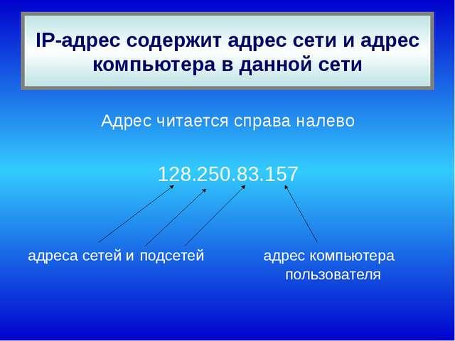 IP-адрес содержит адрес сети и адрес компьютера в данной сети Адрес читается...