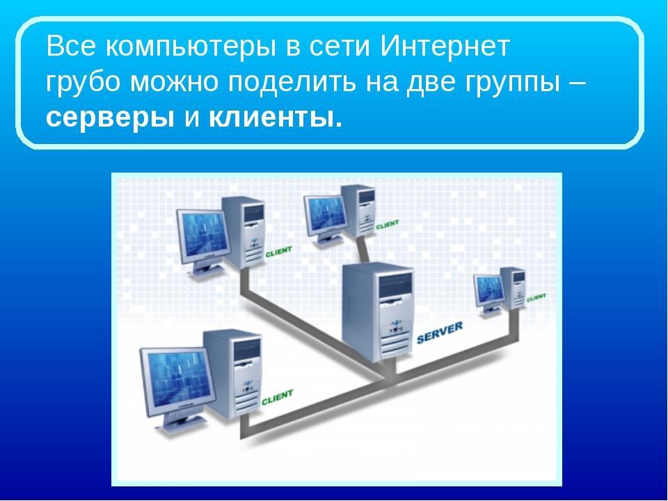 Всекомпьютеры в сети Интернет грубоможно поделить на две группы –серверыи...