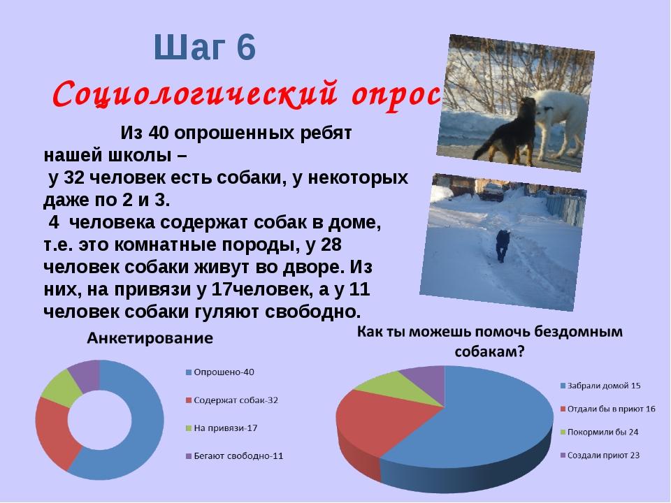 Шаг 6 Социологический опрос Из 40 опрошенных ребят нашей школы – у 32 челове...